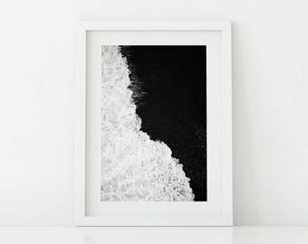 Shore, beach, Wall Art, Wall Art Printable, Black and White, Room Decor, Wilderness, nature