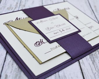Wedding Invitation Purple and Gold (Raise Ink)