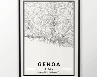 Genoa City Map Print Modern Contemporary poster in sizes 50x70 fit for Ikea frame 19.5 x 27.5 All city available London, New York Paris