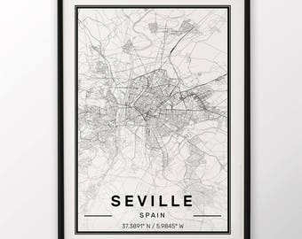 Seville City Map Print Modern Contemporary poster in sizes 50x70 fit for Ikea frame 19.5 x 27.5 All city available London, New York Paris