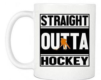 Hockey Gifts - Straight Outta Hockey Ceramic Coffee Mug, Perfect Gift For Hockey Players In Your Home & Office, White Mug 11oz