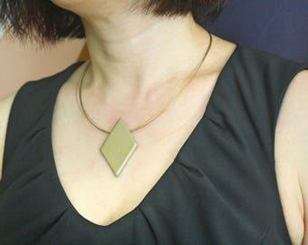 Antique Gold Geometric Pendant Necklace- Minimalistic Style