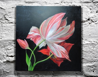 Original oil art Present for her mom Tulip Flower art pink Canvas painting Bedroom decor Living room Black art Vibrant still life Christmas