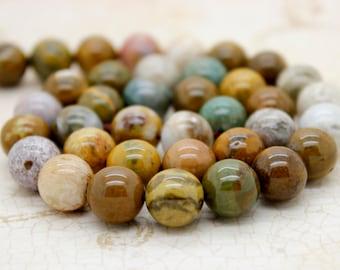 Ocean Jasper Smooth Round Gemstone Beads (6mm 8mm 10mm)
