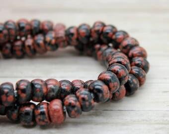 "Mahogany Rondelle Gemstone Beads 8"" strand (5mm x 8mm beads, 2.5 mm hole)"