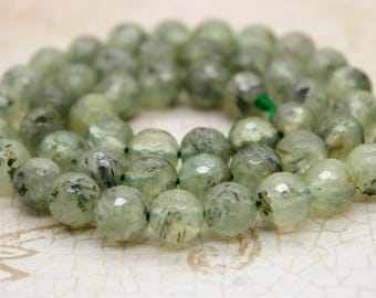 Prehnite Faceted Round Sphere Ball Natural Frosted Transparent Gemstone Beads 3mm 4mm 6mm 8mm 10mm 12mm
