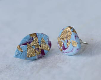 Gold Flaked Leaf Studs ~ Handcrafted Polymer Clay Earrings