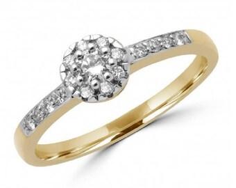 Nice 0.19 Carat  Round Brilliant Diamond Halo Engagement Ring In 10K Yellow Gold