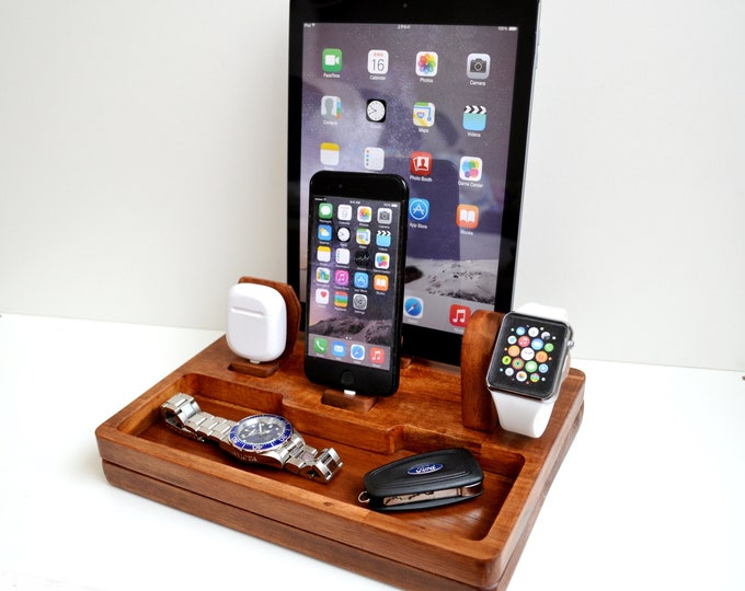 Apple Watch stand iphone charging station gift Apple Watch charging station station stand IDOQQ Ultimate 4 (Mahogany) station, iphone X