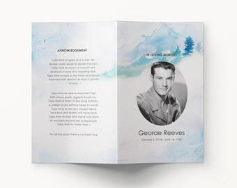 Funeral Program Template - mountain scenery watercolor blue funeral program - printable microsoft word funeral bi-fold brochure template