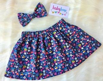 Corduroy skirt and bow set