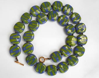 Emerald green and blue abstract Kazuri ceramic bead fair trade necklace
