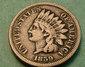 1859 Indian Head Cent  Fine  FREE SH to United States # ET109