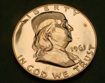 1961  Silver Franklin Half Dollar GEM proof <>The Coin You See is the Coin you get <>ET5831