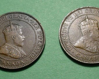 Canada Large Cent X's 2 1908 and 1910, The Coins you see are the ones you get <>ETW6967