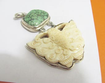 Unique Sterling Silver Tribal Ethnic Pendant carved Bone Butterfly Green Stone, Carved bone pendant, Sterling silver tribal pendant