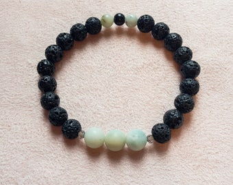 essential oil diffusing lava stone bracelet with amazonite