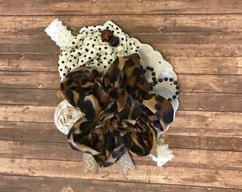 Leopard print headband- cheetah baby flower