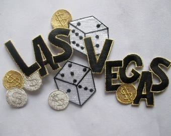 Embroidered Patch LAS VEGAS Casino Gambling Dollar Sign Iron on Sew On Applique