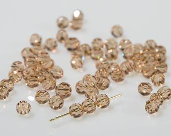 24 Pieces Swarovski Light topaz crystal beads art. #5000 7 mm round bead beads-Swarovski Elements-vintage new from old stock