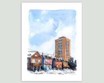 Houses in the Snow, Toronto – Fine Art Print of Original Watercolour Painting