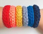 Bright and Bold crochet bangle.
