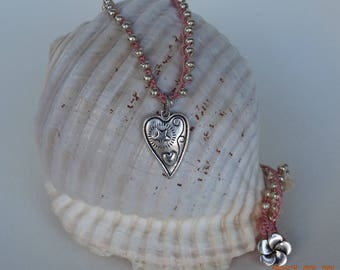 Silver and Pink Crocheted Pendant Necklace