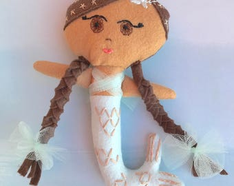 Baby Feather Mermaid Doll, Handmade felt doll with embroidery details based on pattern from Aimee Rae.  Looking for a loving forever home.