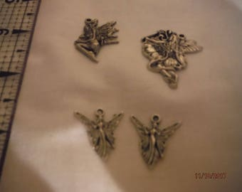 DreamscapesByCyn--Lot of 4 metal FAIRY FAERIE silver colored charms