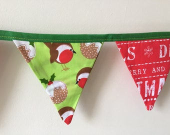 Christmas Bunting double sided flags robins and Christmas puddings on green and white sentiments on red.