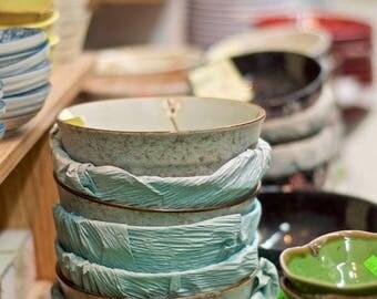 "Photography stacked bowls ceramic photograph teal green China town wall art ""Stacked Bowls"""