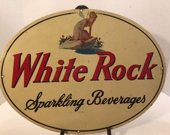 Rare Antique White Rock Double Sided Bar Sign Topless Pixie