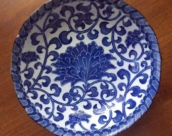 Lovely Blue Mum 10' Vegetable Bowl with Scalloped Edge – Andrew by Sadek