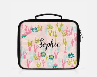 Cactus Lunch Box, Pink Lunch Box, Personalized Lunch Box, Cute Lunch Box, Lunch Box for Women, Reusable Lunch Bags, Cute Lunch Box