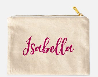 Custom Name Cosmetic Bag, Personalized Cosmetic Bag, Lined Cosmetic Bag, Cotton Canvas Cosmetic Bag, Cotton Makeup Bag, Cute Makeup, 9.5 x 7