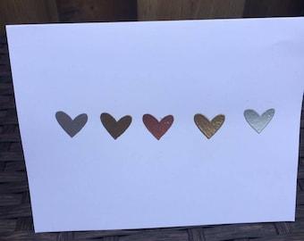 Metallic Embossed Heart Card