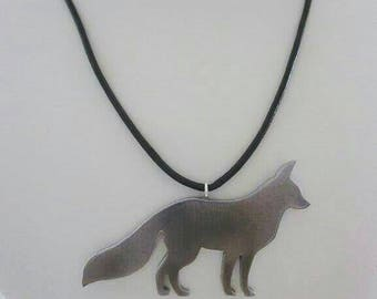 Chunky Silver Fox Pendant on Leather Cord
