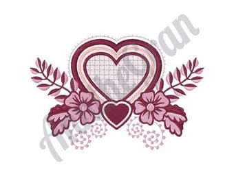 Heart With Flowers - Machine Embroidery Design
