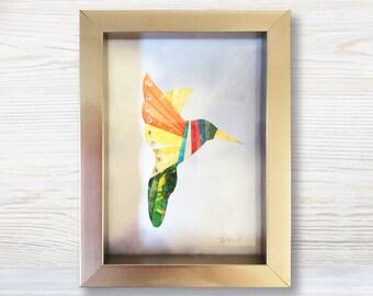 Framed Hummingbird Fabric Wall Art