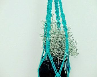 handmade blue macrame wall hanging