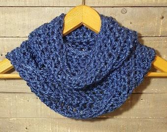 Chunky Denim Blue Crochet Infinity Cowl, Scarf,