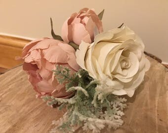 Artificial wedding corsage, dusky pink corsage, artificial wedding flowers, rose gold silk corsage, silk flower corsage, cream corsage