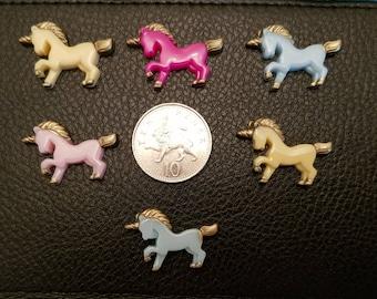 Set of 6 resin flat back unicorns