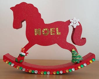 christmas themed rocking horse
