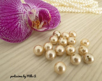 Set of 10 beautiful Majorca pearls, champagne Pearl rose 10mm