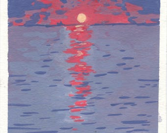 Red Sunset, Original gouache painting