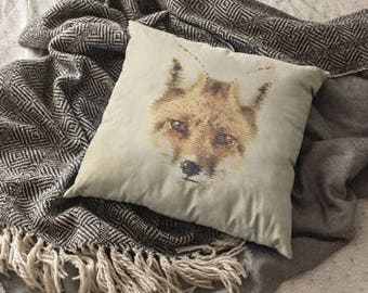 Pixel Fox Decorative Pixel Art Pillow Animal Print Pillow Dorm Decor Fox Animal Pillow Gift Rustic Home Decor Witty Novelty