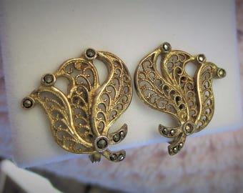 Vintage Filigree Sterling Silver Gold Vermeil Marcasite Clip Earrings Makers Mark LECITA