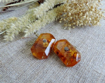 Cufflinks Vintage Baltic amber mens cufflinks wedding natural gem stone USSR birthstone jewelry grooms cufflinks orange stone silver 875