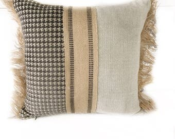 Rustic fringed throw pillow with Insert